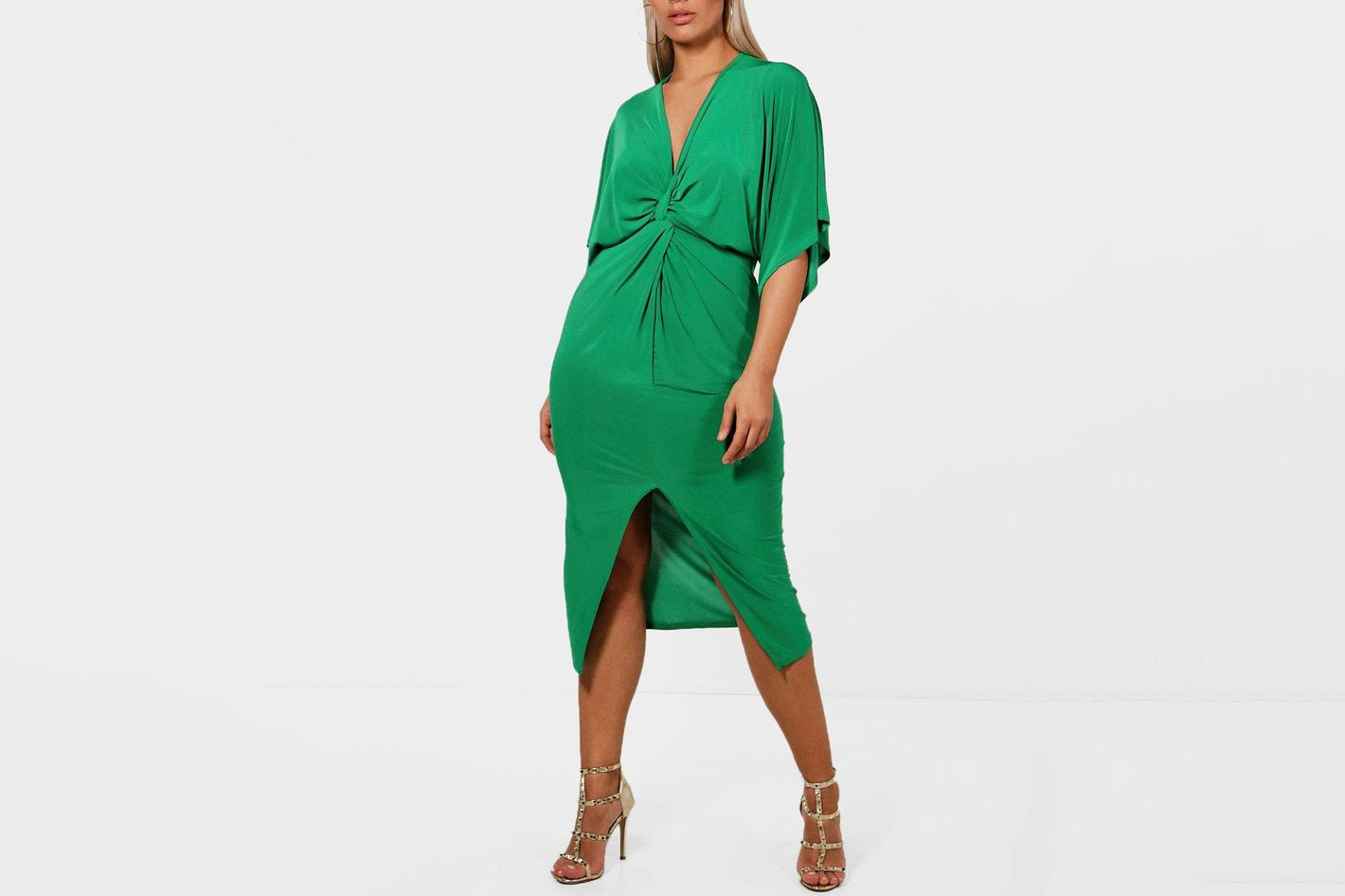 Shelly Knot Front Slinky Dress