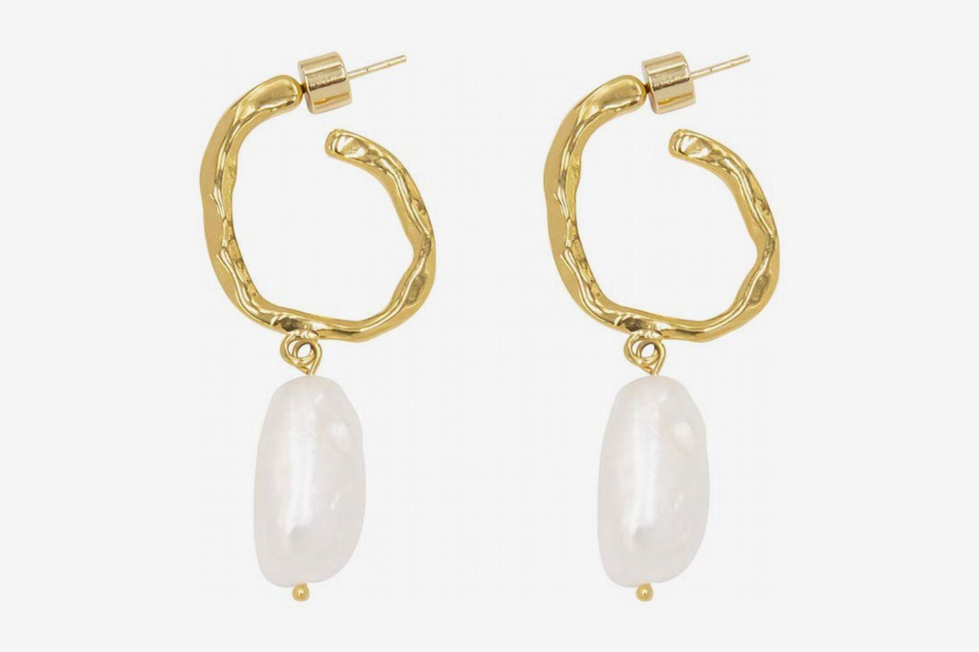 LANE WOODS Genuine Freshwater Cultured Pearl Drop Stud Earrings with Sterling Silver Post