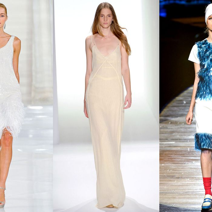 From left: spring looks from Ralph Lauren, Calvin Klein, and Marc Jacobs.