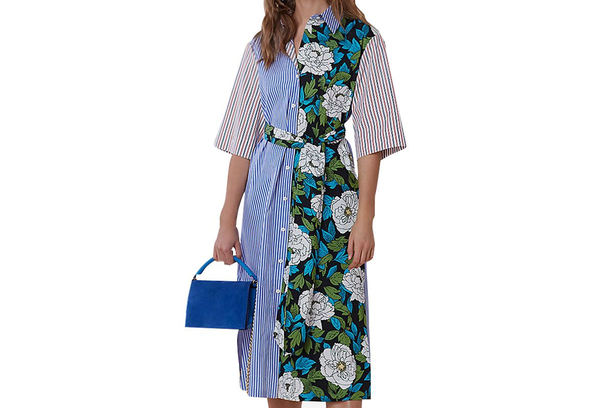 Diane Von Furstenberg ¾-Sleeve Belted Shirtdress