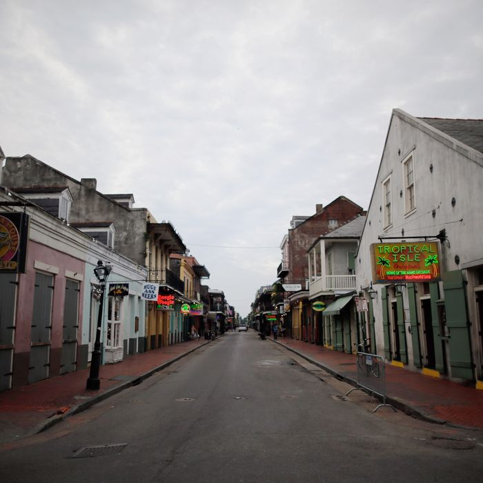Bourbon street remains vitrually empty ahead of Tropical Storm Isaac on August 27, 2012 in New Orleans, Louisiana. Tropical Storm Isaac is expected to strengthen into at least a Category 1 hurricane before making landfall near Louisiana.
