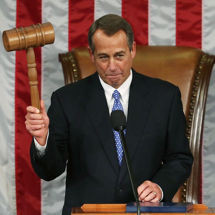WASHINGTON, DC - JANUARY 03: Speaker of the House John Boehner (R-OH) holds the gavel during the first session of the 113th Congress in the House Chambers January 3, 2013 in Washington, DC. House Speaker Boehner was re-elected as Speaker and presided over the swearing in of the newly elected members of the 113th Congress. (Photo by Mark Wilson/Getty Images)