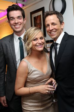 NEW YORK, NY - MAY 06:  (L-R) John Mulaney, Amy Poehler and Seth Meyers attend LOL With LLS: Jokes on You, Cancer! on May 6, 2014 at New World Stages in New York City.  (Photo by Monica Schipper/Getty Images for The Leukemia & Lymphona Society)