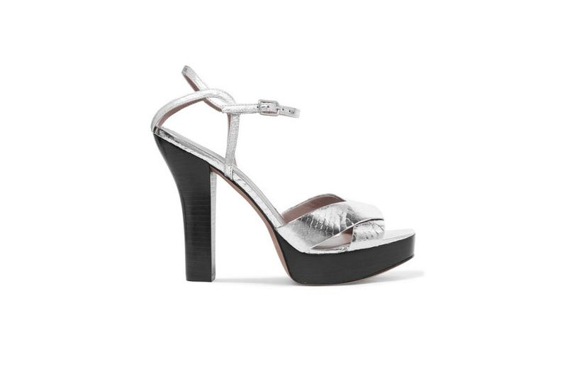 DIANE VON FURSTENBERG Tatum metallic elaphe platform sandals