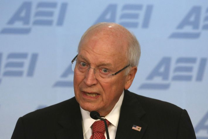 Former US Vice President Dick Cheney speaks about the situation in Syria and Iraq regarding the terrorist group ISIS, at The American Enterprise Institute for Public Policy Research (AEI), September 10, 2014 in Washington, DC. Vice President Cheney urged President Barack Obama to take a hard line stance against the terrorist group.  (Photo by Mark Wilson/Getty Images)