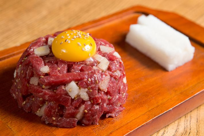 Deuki Hong's beef tartare with Asian pear and sesame oil.