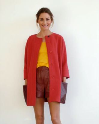Olivia Palermo demonstrates the fine art of wearing leather shorts.