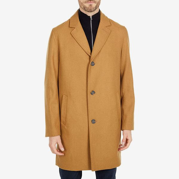 Cole Haan 37-Inch Melton Wool Notched-Collar Coat
