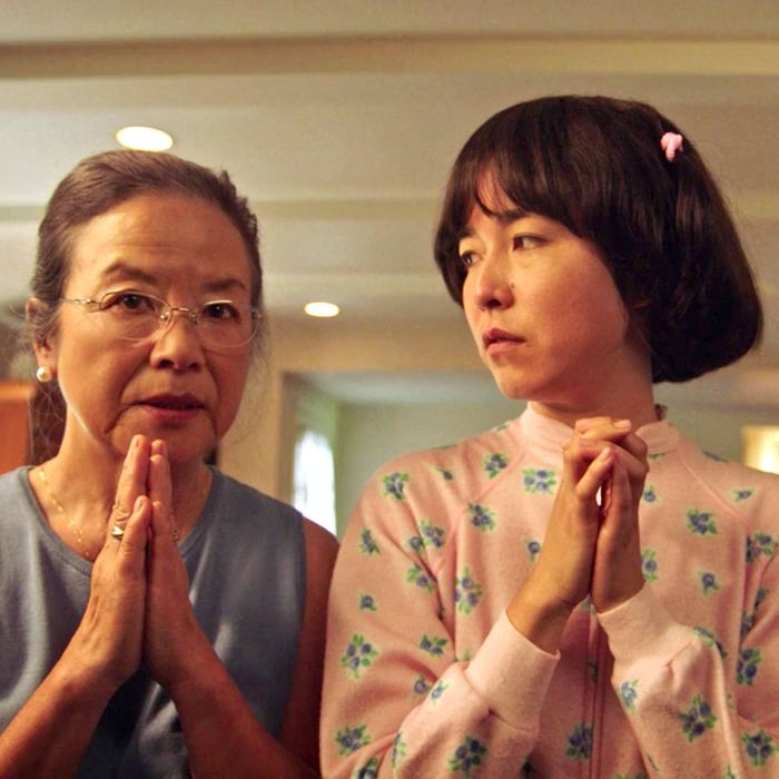 Mutsuko Erskine, Maya Erskine, and Dallas Liu in PEN15.