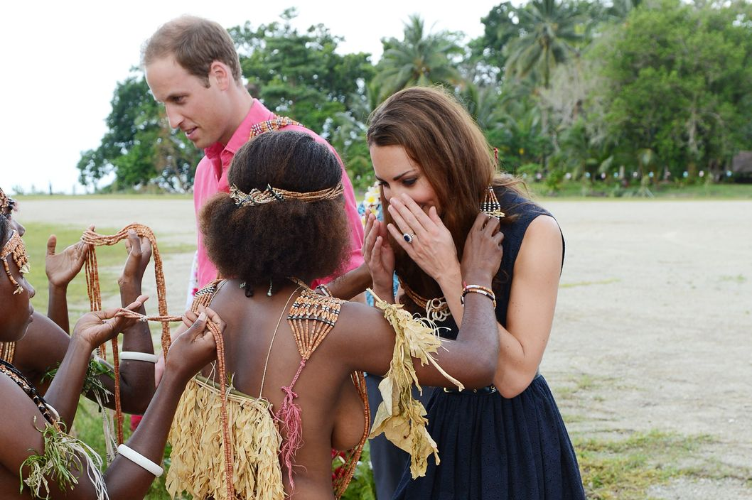 The Duke and Duchess of Cambridge are welcomed to Marau, Solomon Islands before they travel by boat to Tavanipupu, as part of the Royal couple's Diamond Jubilee Tour of South East Asia