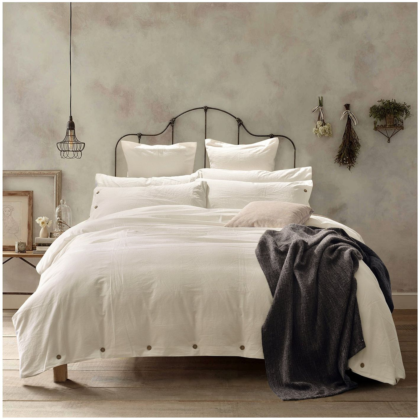 Doffapd Duvet Cover Queen Washed Cotton Set