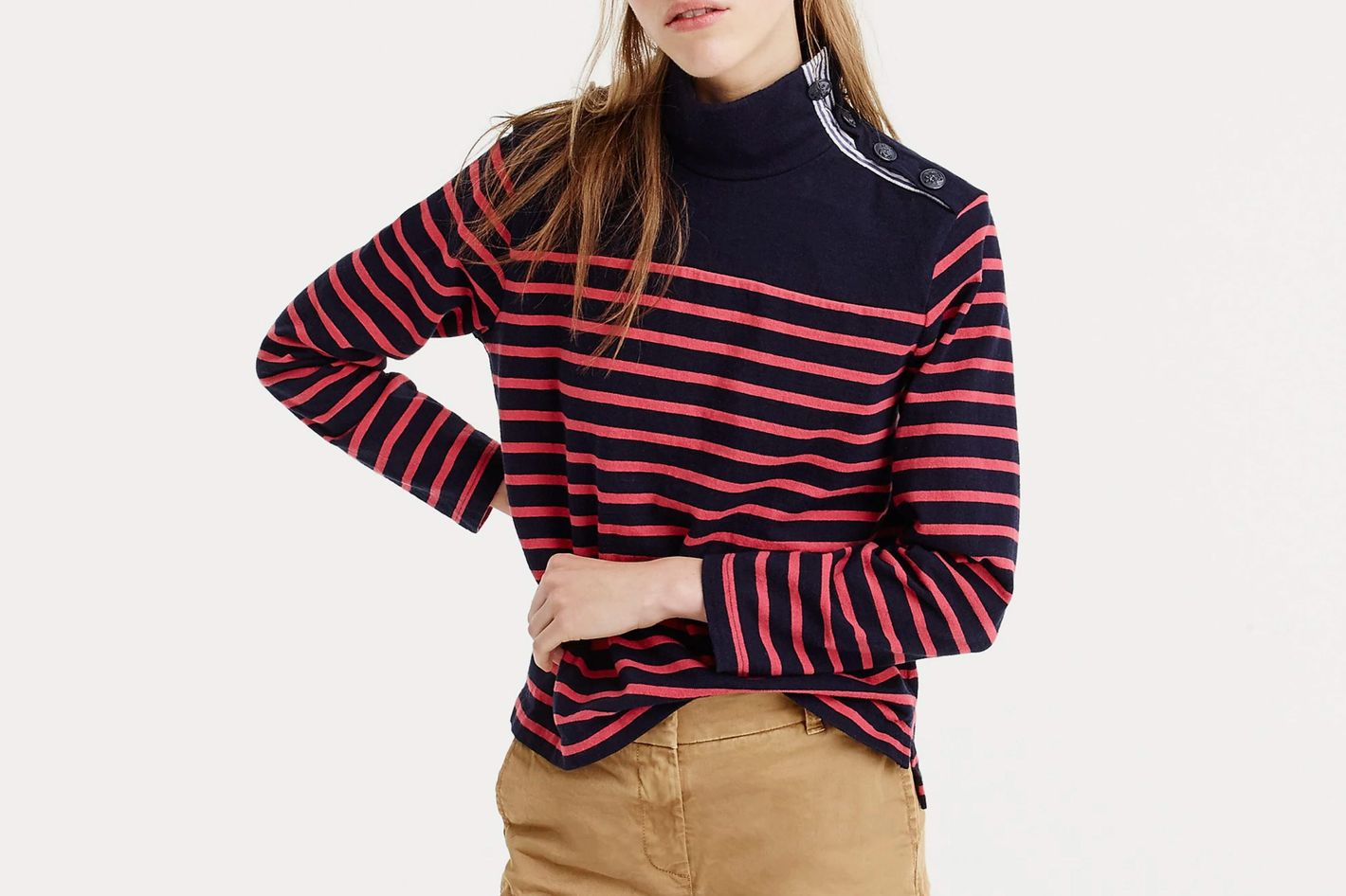 J.Crew Striped Button-Shoulder Turtleneck