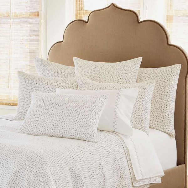 John Robshaw Hand Stitched Gray Coverlet and Shams
