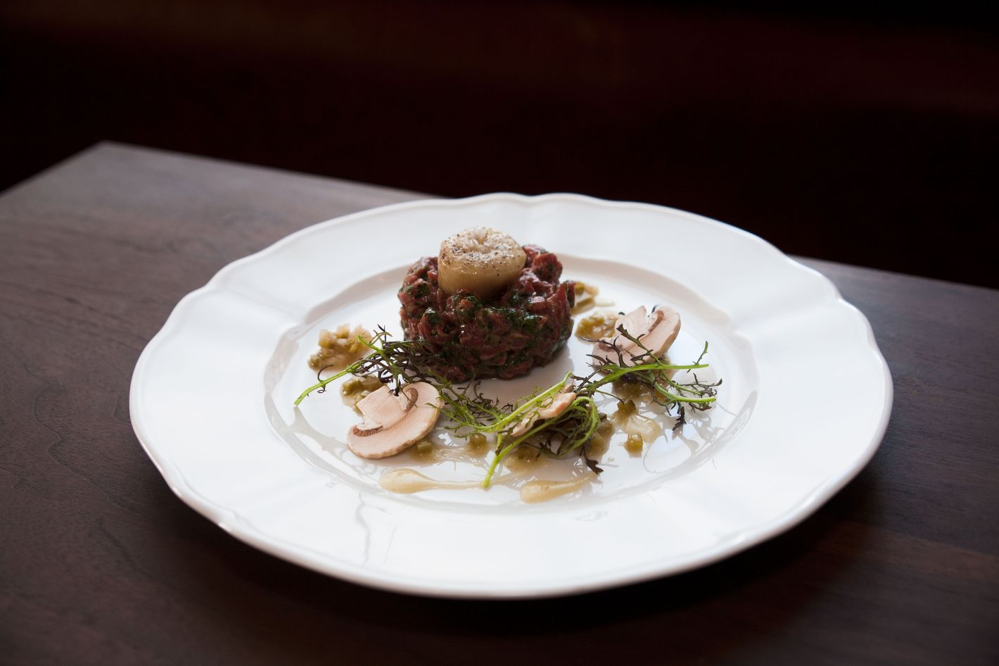 Beef tartare with poached marrow.