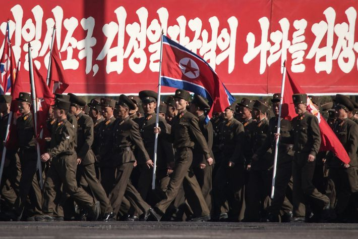 North Korea parades around a bunch of dicks for founder's birthday celebration