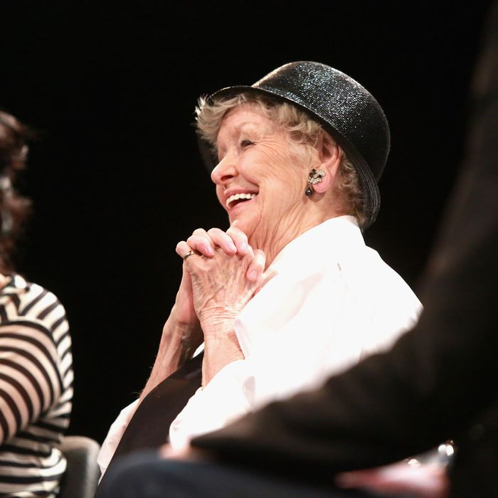 NEW YORK, NY - APRIL 22: Director Chiemi Karasawa (L) and actress Elaine Stritch speak onstage at the Tribeca Talks After the Movie: