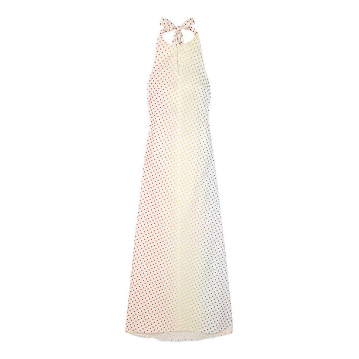 Polka-dot flocked stretch cotton-poplin halterneck maxi dress