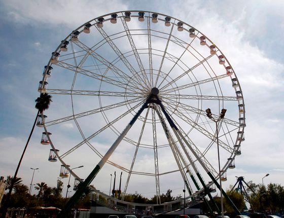 The Baghdad Eye, the second largest ferris wheel in the Middle East, is blocks away from the Green Zone.