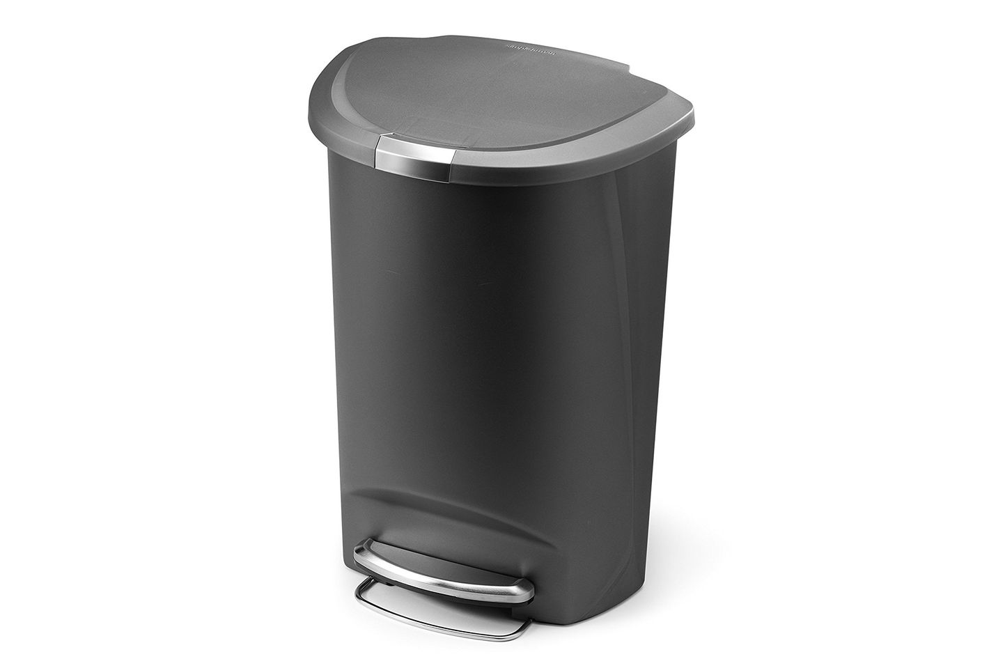 Simplehuman Semi-Round Step Trash Can, Grey Plastic, 13.2 Gallon