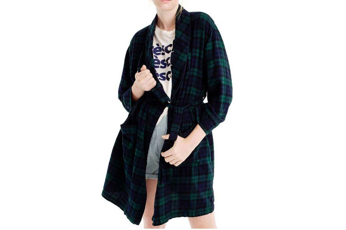 J.Crew Blackwatch Flannel Short Robe