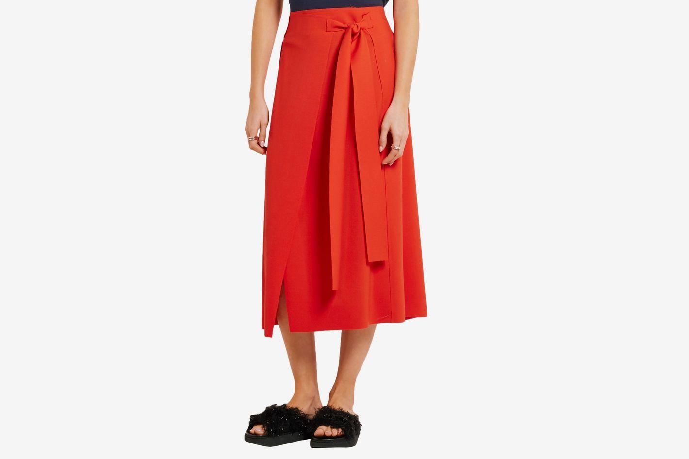 Cedric Charlier Wool-blend crepe wrap midi skirt