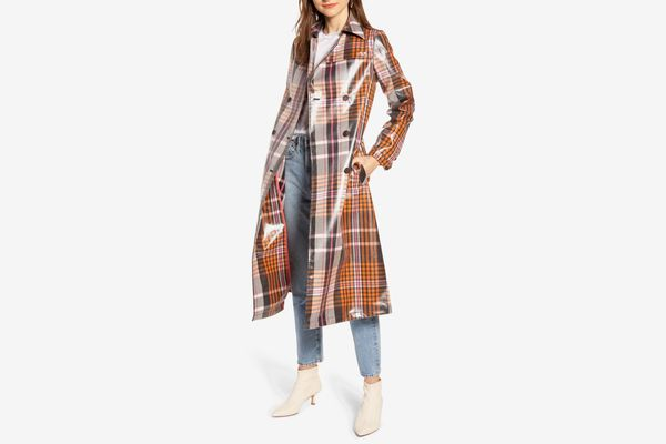 Something Navy Water Resistant Plaid Glossy Trench Coat