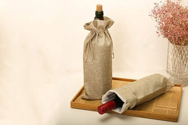 HRX Package Burlap Wine Bags With Drawstring