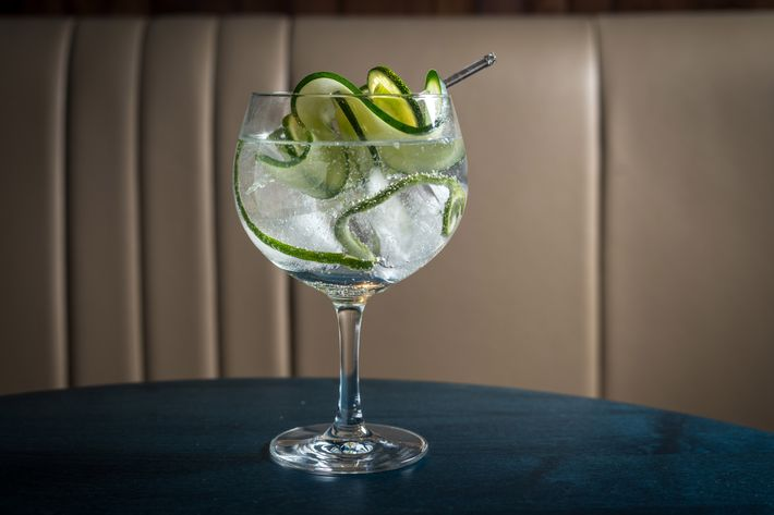 Gin and tonic with lime, cucumber, and fennel.