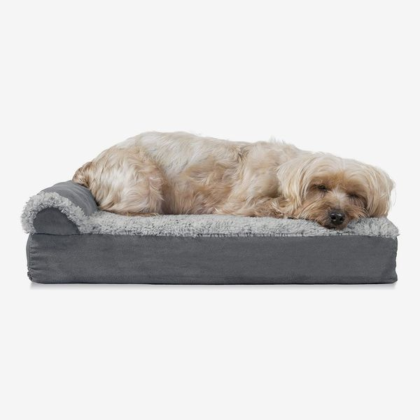 Furhaven Ergonomic Contour & Plush Orthopedic L-Shaped Dog Bed