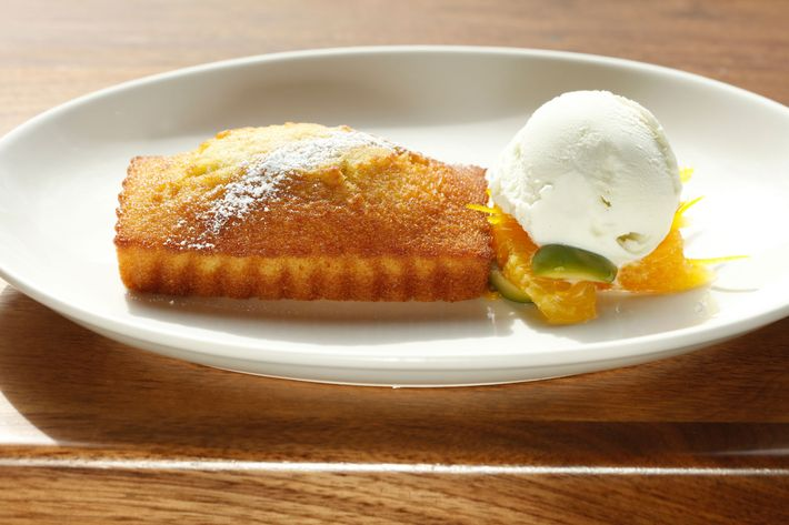 Olive-oil cake with oranges, Castelvetrano-olive salad, and rosemary gelato.