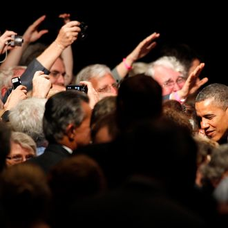 PORTLAND, OR - JULY 24: U.S. President Barack Obama greets supporters at a campaign fundraiser at the Oregon Convention Center on July 24, 2012 in Portland, Oregon. President Obama is next scheduled to continue his campaign in Seattle. (Photo by Jonathan Ferrey/Getty Images)