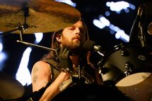 LAS VEGAS, NV - OCTOBER 26:  Drummer Nathan Followill of Kings of Leon performs during the Life is Beautiful festival on October 26, 2013 in Las Vegas, Nevada.  (Photo by Ethan Miller/Getty Images)