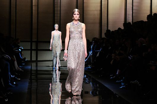 Models walk the runway at the Giorgio Armani Prive Spring Summer 2014 fashion show during Paris Haute Couture Fashion Week on January 21, 2014 in Paris, France.