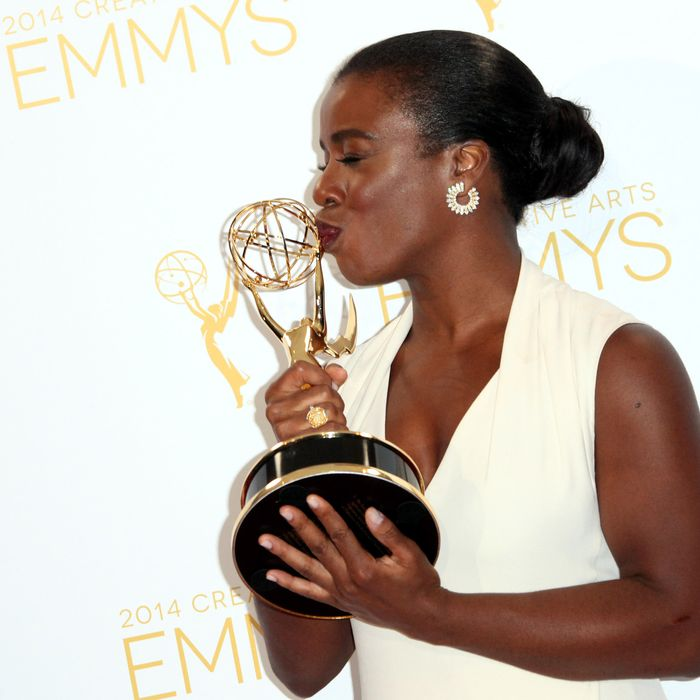 LOS ANGELES, CA - AUGUST 16: Actress Uzo Aduba attends the 2014 Creative Arts Emmy Awards press room held at the Nokia Theatre L.A. Live on August 16, 2014 in Los Angeles, California. (Photo by Tommaso Boddi/WireImage)