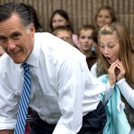 Republican presidential candidate, former Massachusetts Gov. Mitt Romney poses for photographs with students of Fairfield Elementary School, Monday, Oct. 8, 2012, in Fairfield, Va.