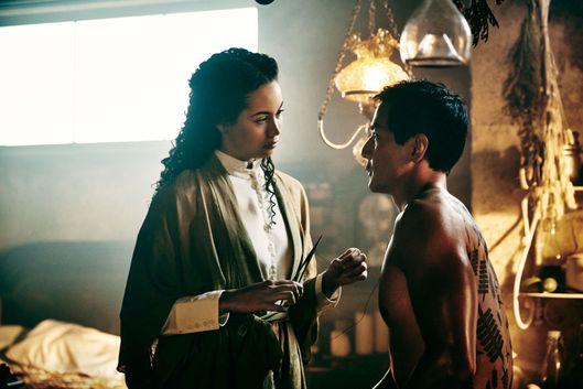 Madeleine Mantock as Veil and Daniel Wu as Sunny - Into the Badlands _ Season 1, Epsiode 3 - Photo Credit: Patti Perret/AMC