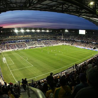 A general view of the field as the New York Red Bulls play the Santos FC on March 20, 2010 at Red Bull Arena in Harrison, New Jersey.