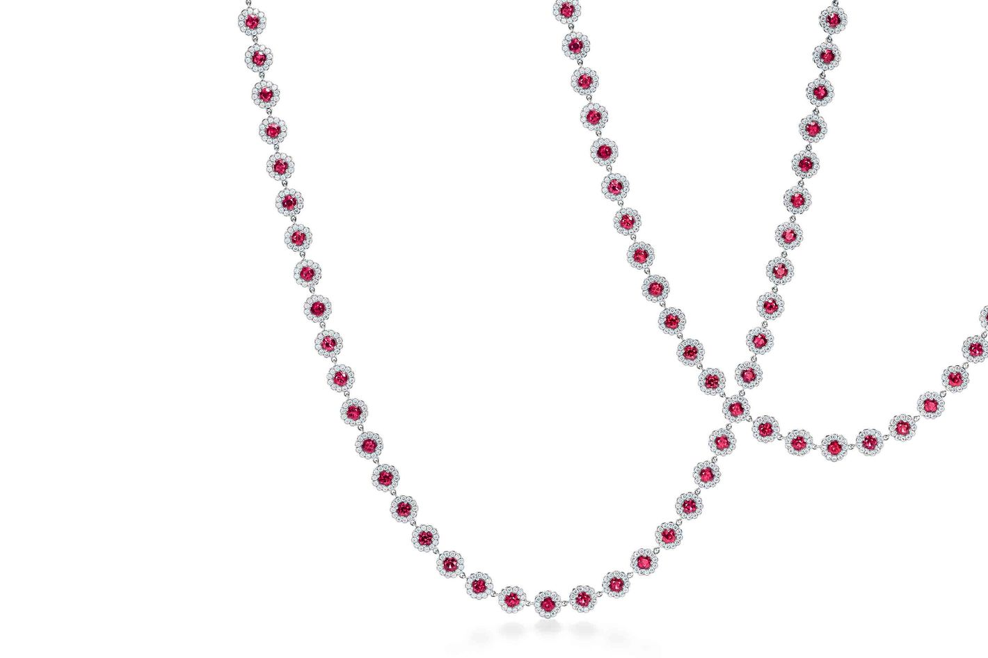 Tiffany & Co. Cobblestone necklace in platinum with rubies and diamonds