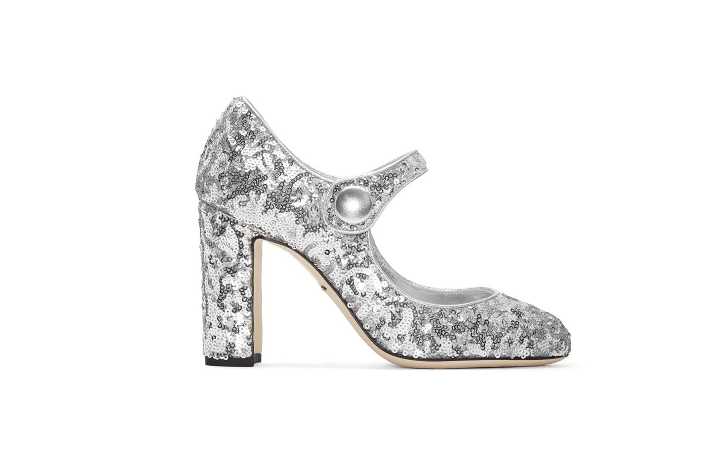 Dolce & Gabbana Silver Sequinned Mary Jane  Heels