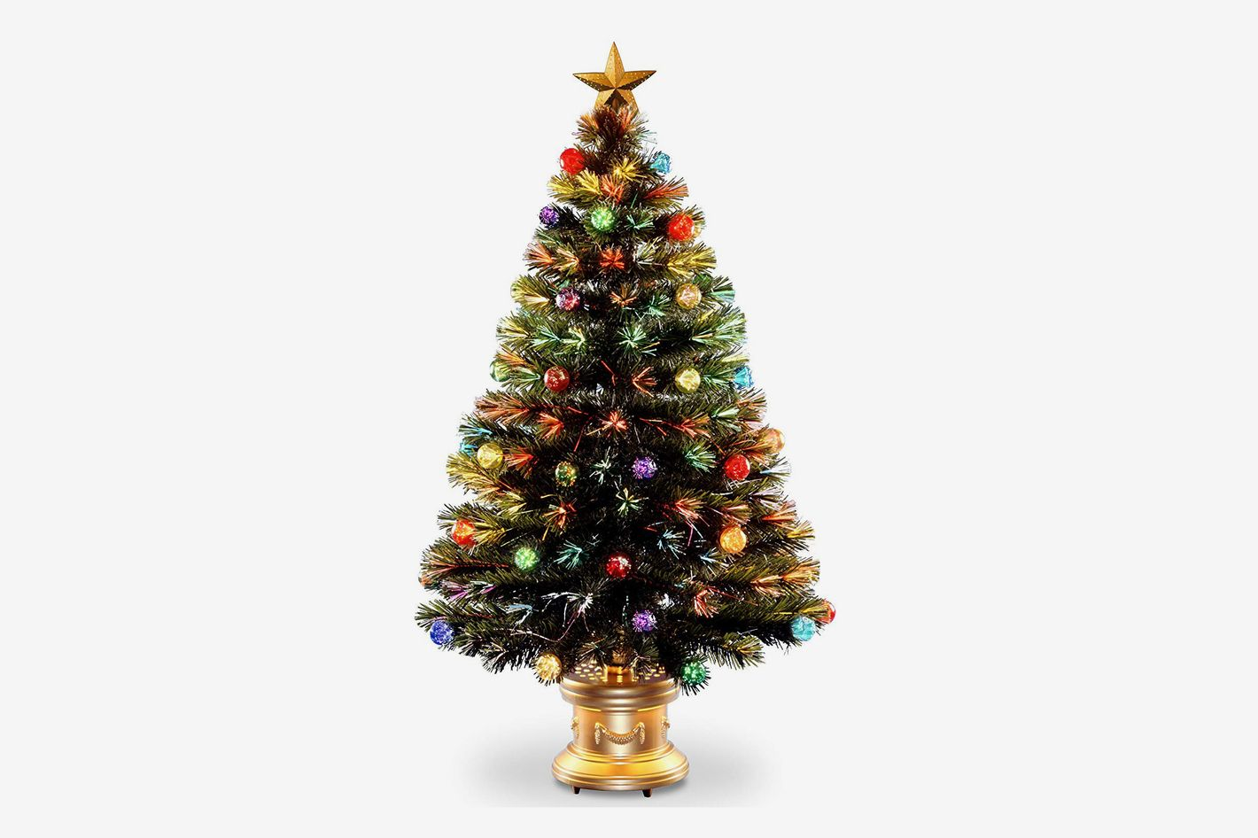 best pre lit 4 foot christmas tree with ornaments national tree 48 inch fiber optic ornament fireworks tree