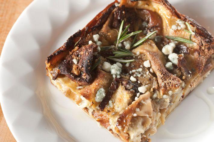 Wild-mushroom-and-Gorgonzola lasagna.