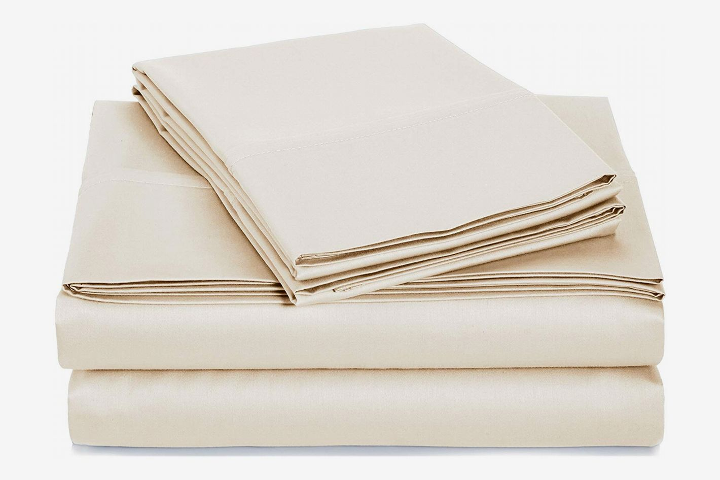 AmazonBasics 400 Thread Count Sheet Set, 100% Cotton, Sateen Finish – Full, Beige