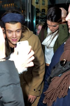 Harry Styles is mobbed by fans with Kendall Jenner on the way to Soho House, NYC.