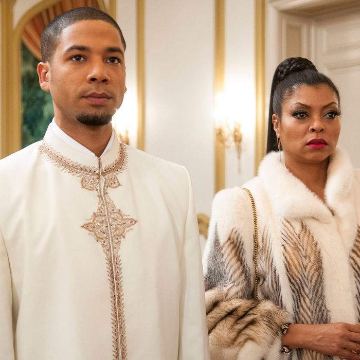 EMPIRE: Jamal (Jussie Smollett, L) and Cookie (Taraji P. Henson, R) attend the all white party in the