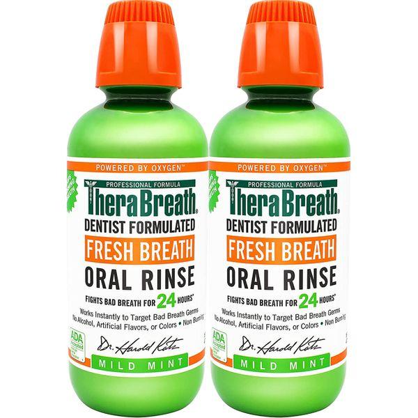 TheraBreath Fresh Breath Oral Rinse, Mild Mint, 16 Oz (Pack of 2)