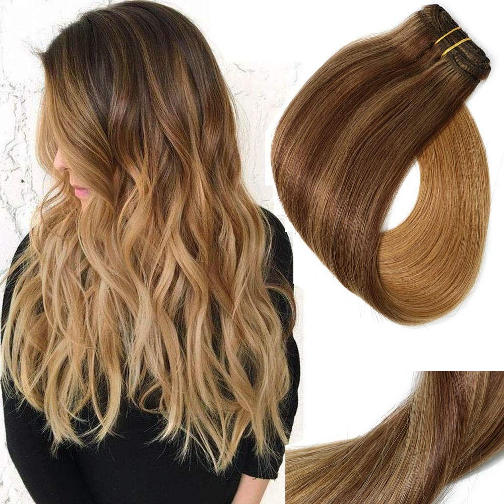 "VARIO Clip In Hair Extensions Double Weft Brazilian Hair, 18"", 120g, 7pcs"