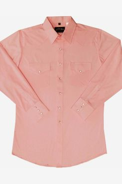 White Horse Apparel Men's Solid Pink Western Shirt