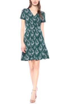 Lark & Ro Short Sleeve Fixed Wrap Waistband Dress