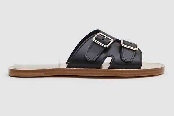 Acne Studios Bibbi Flat Sandal in Black/White