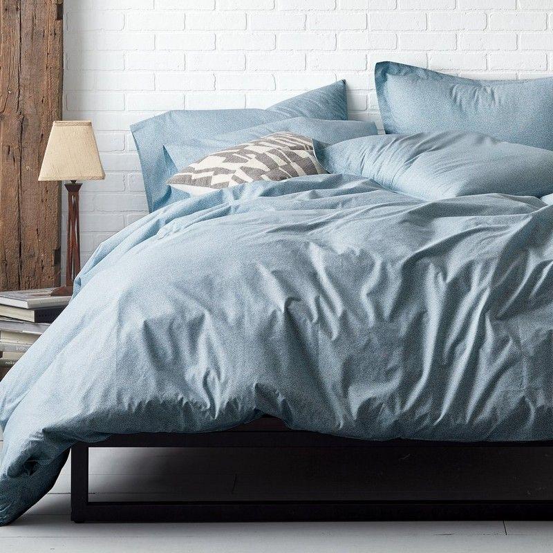 Minimalist Blue Gray Duvet Covers, Blue Gray Bedding